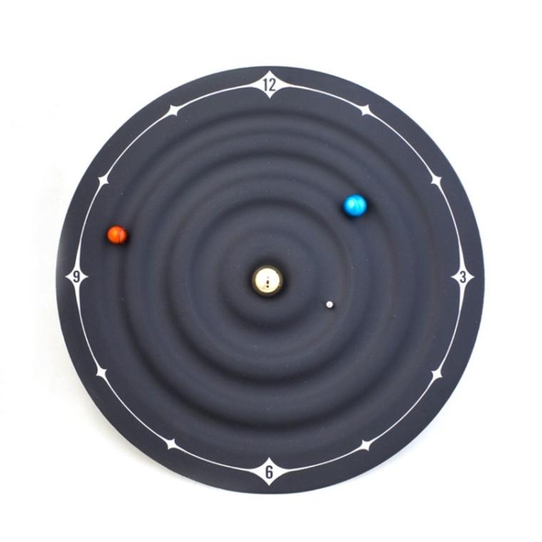 Galaxy Magnet Planetary Orbit Creative Wall Clock Home Decor Table Clock