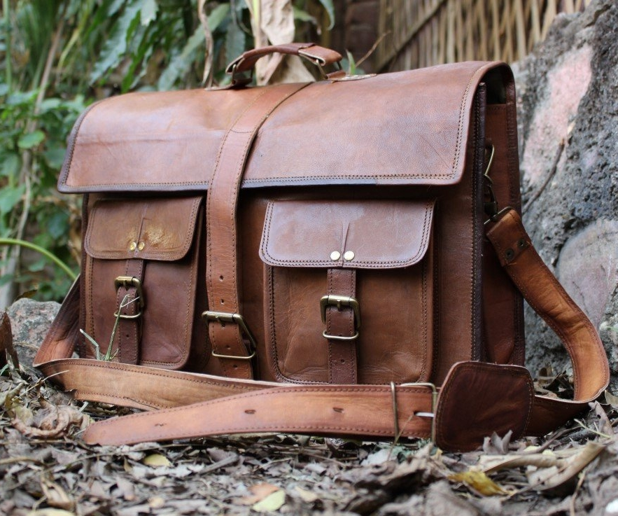 Genuine Leather Messenger Laptop Briefcase