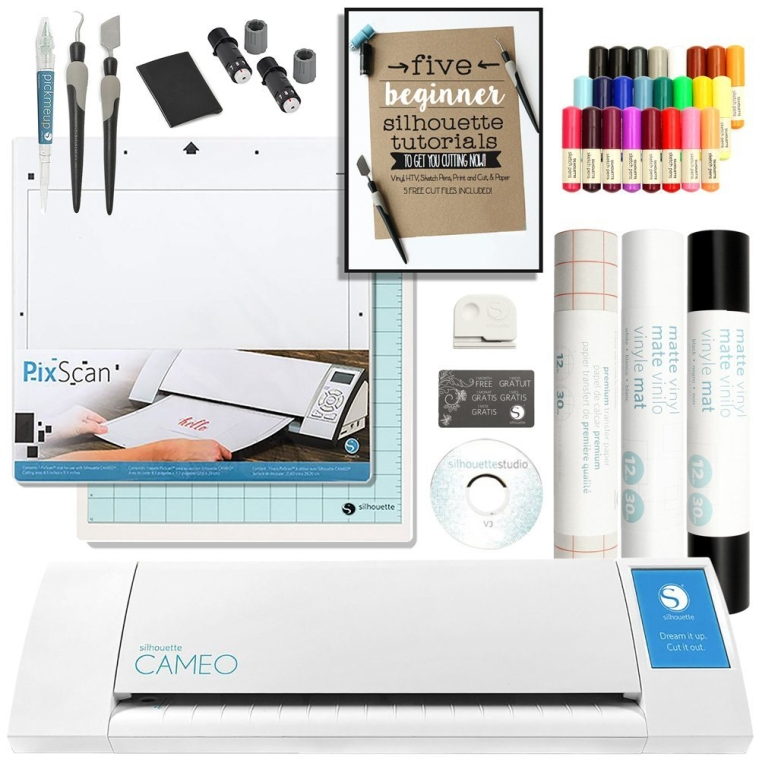 Silhouette Cameo Touch Screen, Sketch Pen Set, Pixscan, Starter Guide, 2 Full Rolls Vinyl, Transfer Paper, Tools, and More