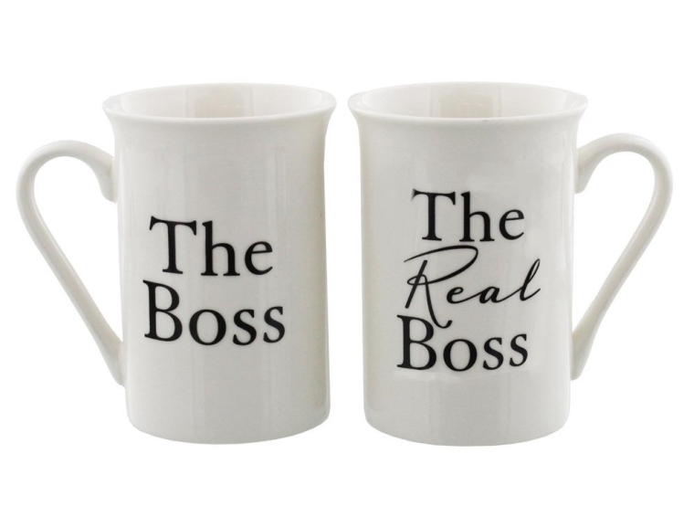 The Boss and The Real Boss White Mugs Gift Set