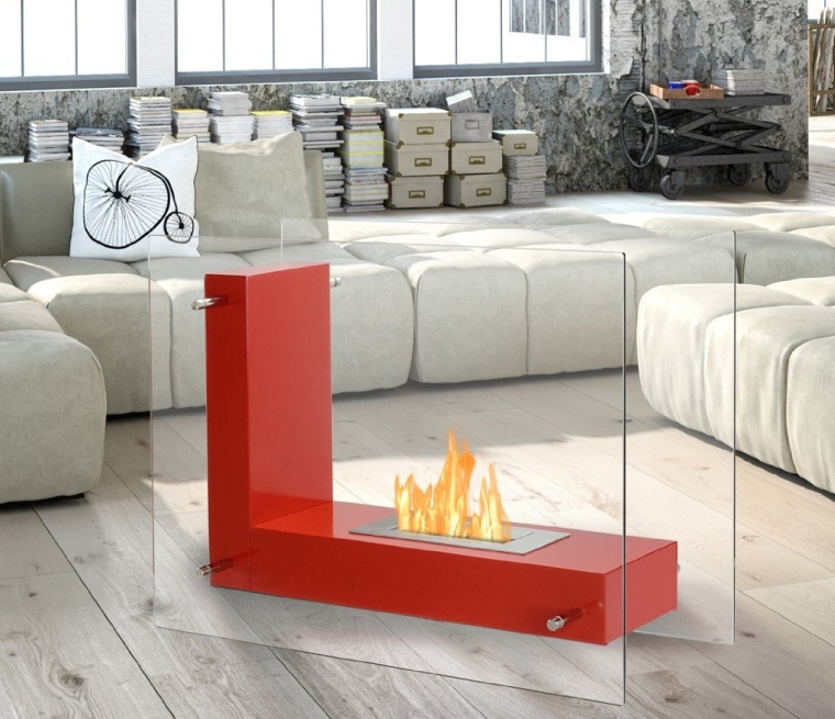 Ventless Bio Ethanol Fireplace Vitrum L Red