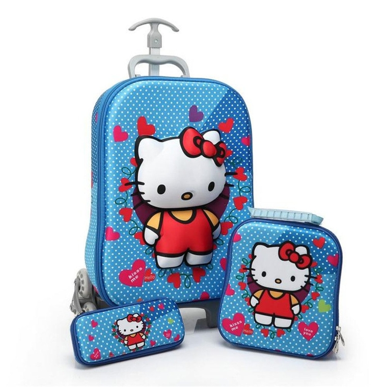 3D Hello Kitty Design Children Trolley Carry-on Hand Luggage Set