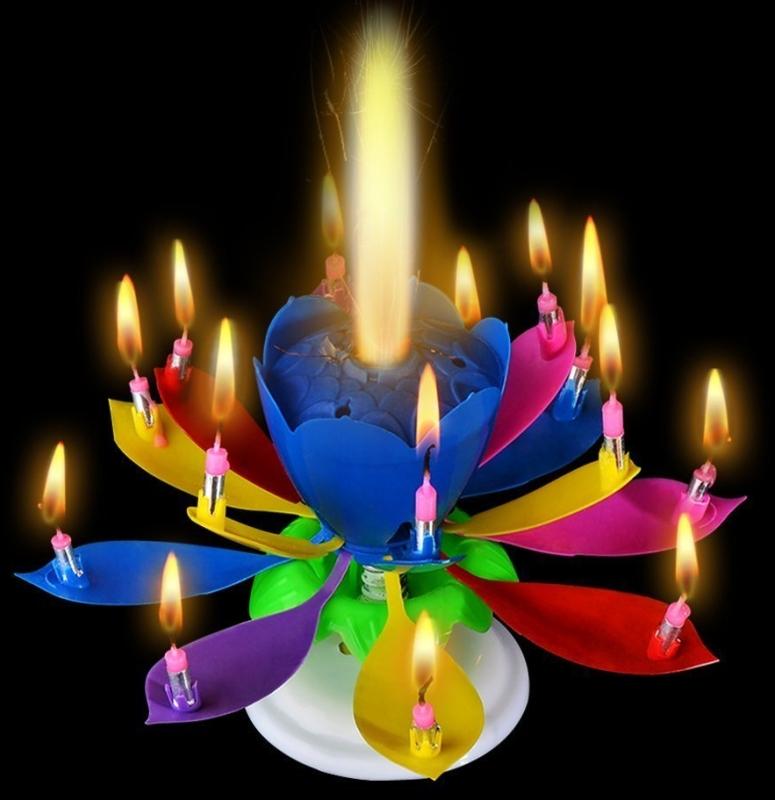 Birthday Lotus Candles Amazing Singing Rotating Musical