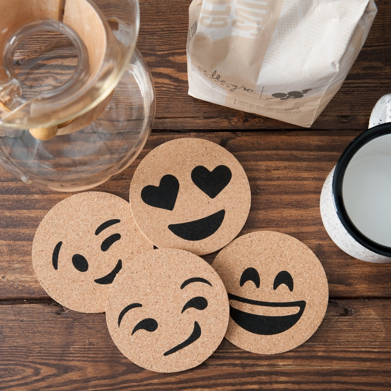 Emoji Cork Coaster Printed