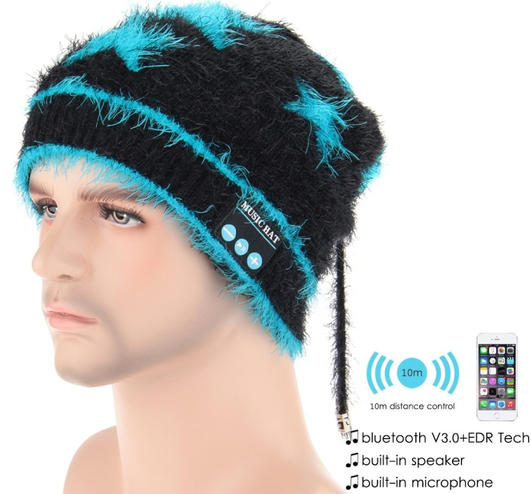 Fluffy Scarf Headphones Built-in Stereo Speakers