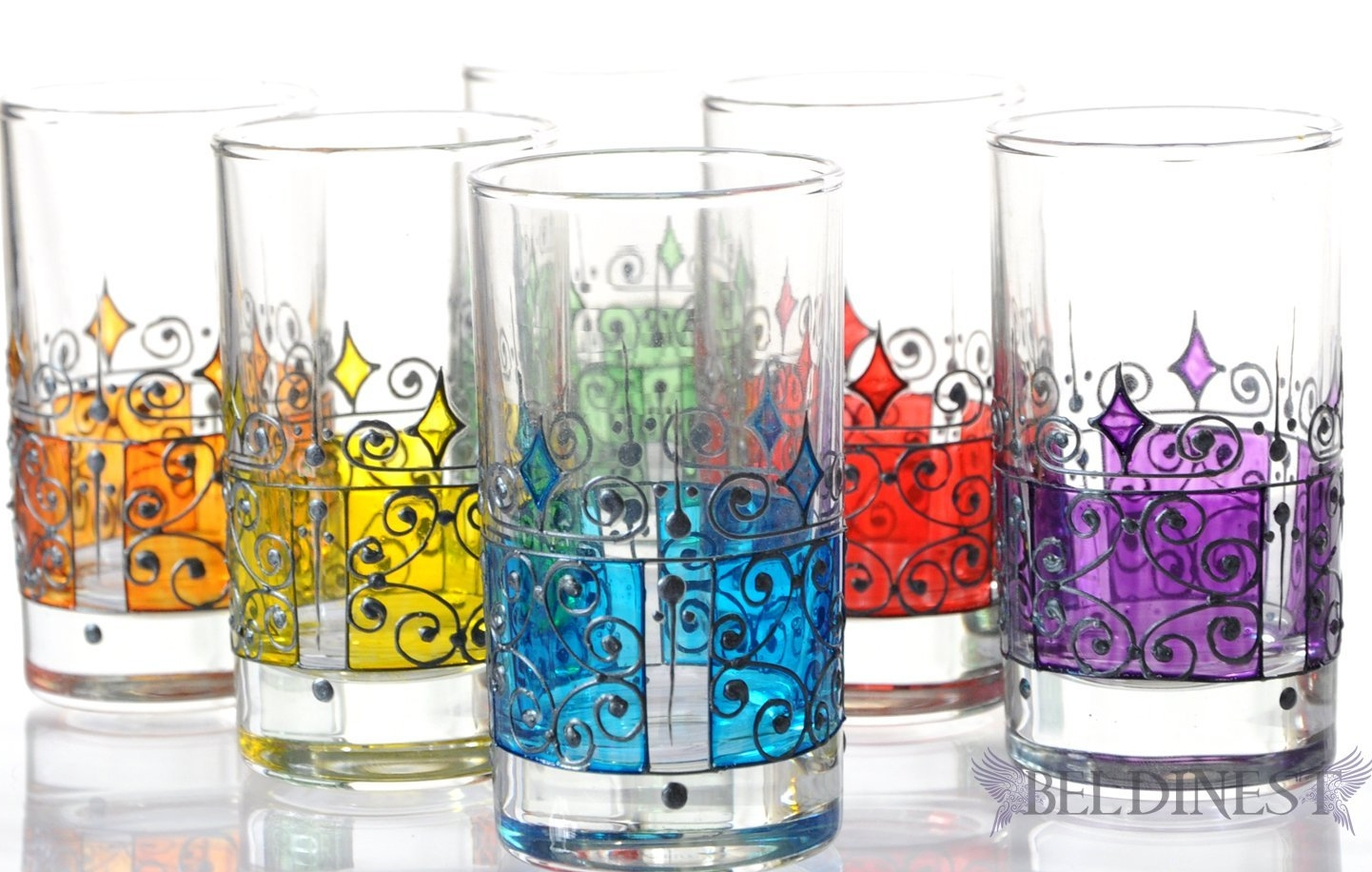 Hand Painted 6 Tea Glasses