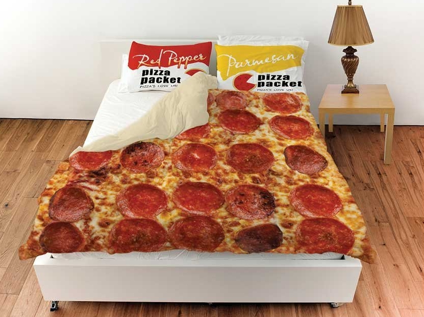 Pepperoni Pizza Queen Duvet Cover With Red Pepper And Parmesan PillowShams