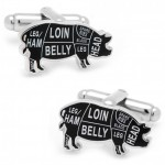 Pork Butcher Cuts Cufflinks
