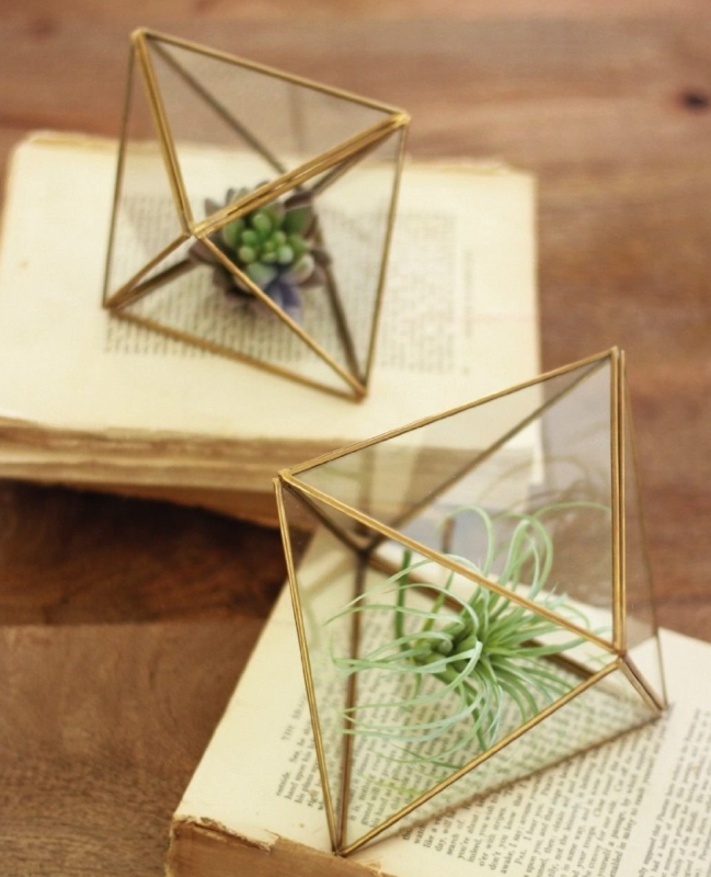 Set of 2 Glass and Metal Multi Faceted Terrariums