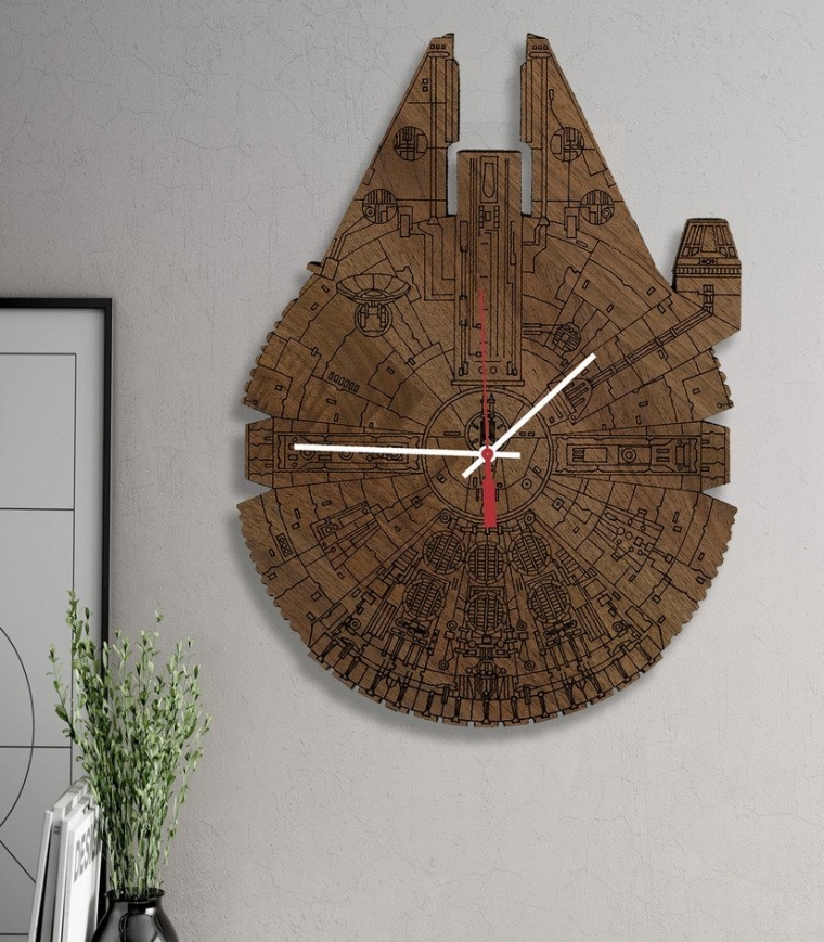 Star Wars Millennium Falcon Science Fiction Inspired Laser Engraved Wall Clock