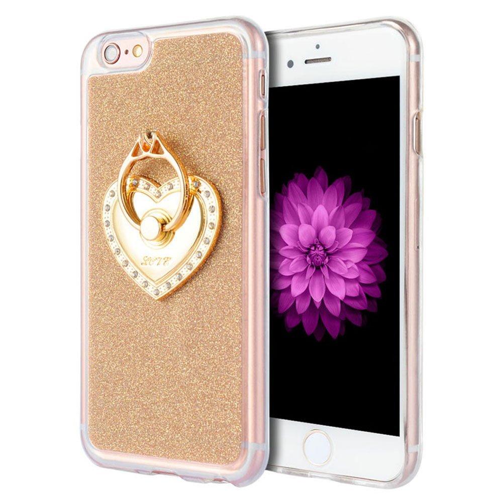 iPhone 6 Plus  6S Plus Case, Luxmo® [Ultra Slim Ring Style Stand] Premium Sparkling Semi-Transparent Crystal Clear Trim TPU Case