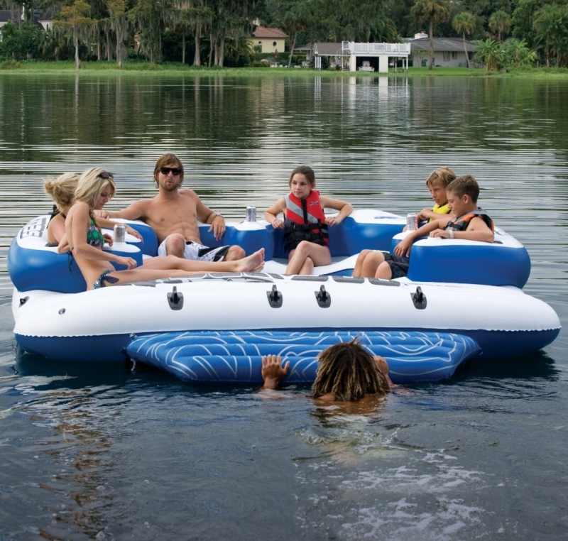 8 Person Inflatable Mega Island Lake Float w 4 Speaker Music System