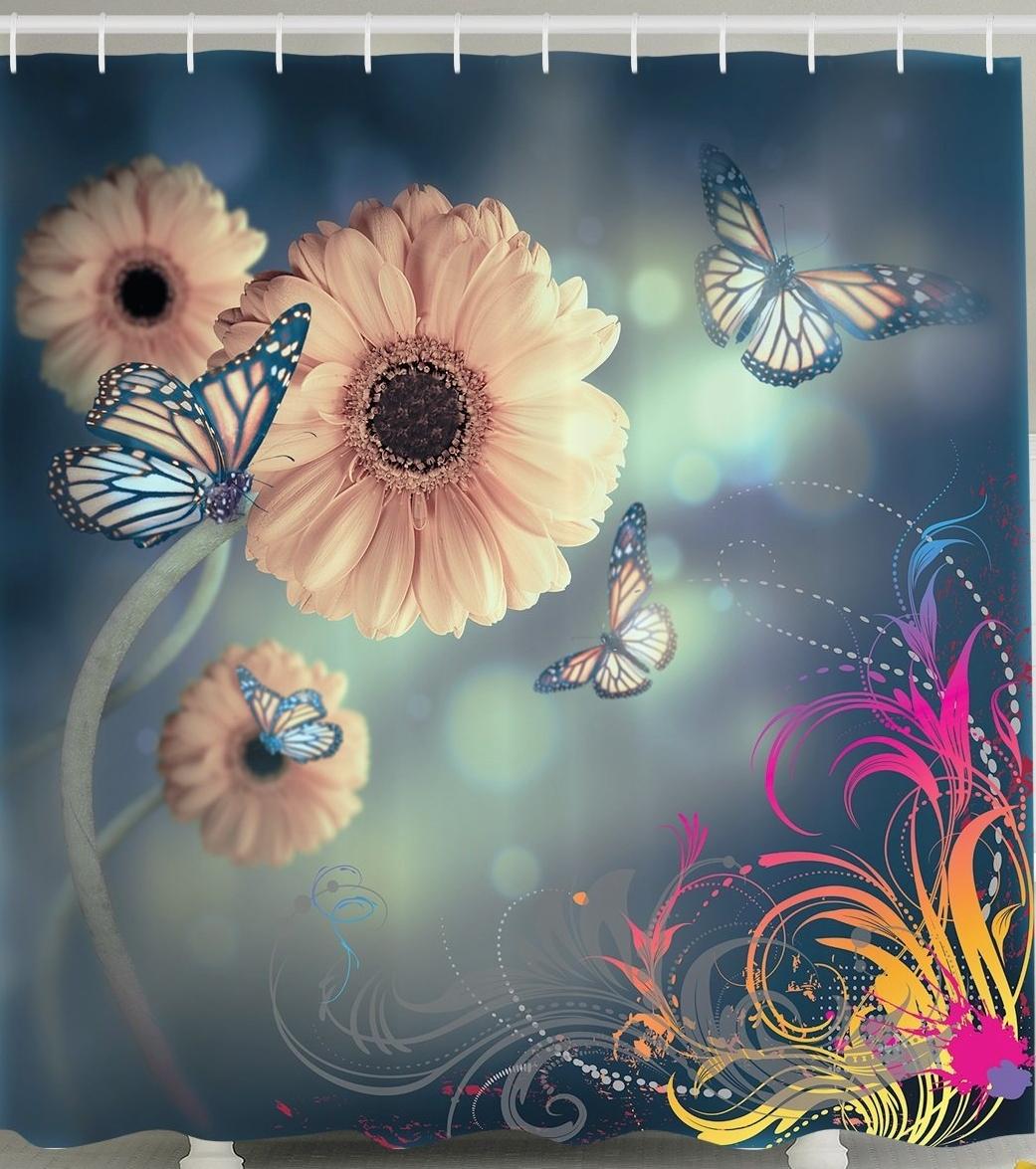 Decor Ombre Garden Fabric Artistic Shower Curtain Gerbera Flowers Decor