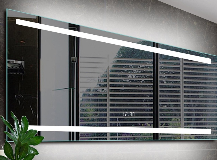 Electric Mirror with Safer Longer Lasting LED T5 Tube, Up-down Lights, with Digital Built in Clock in the Mirror & Steel