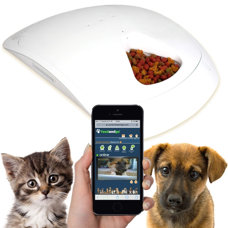 Feed and Go Smart Pet Feeder with Webcam & Wi-Fi Built-In Wet & Dry Food Friendly