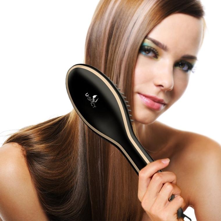 Hair Straightener Brush for Silky Frizz-free Hair