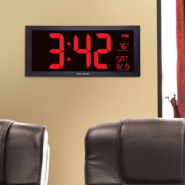 Large Led Clock with Indoor Temperature