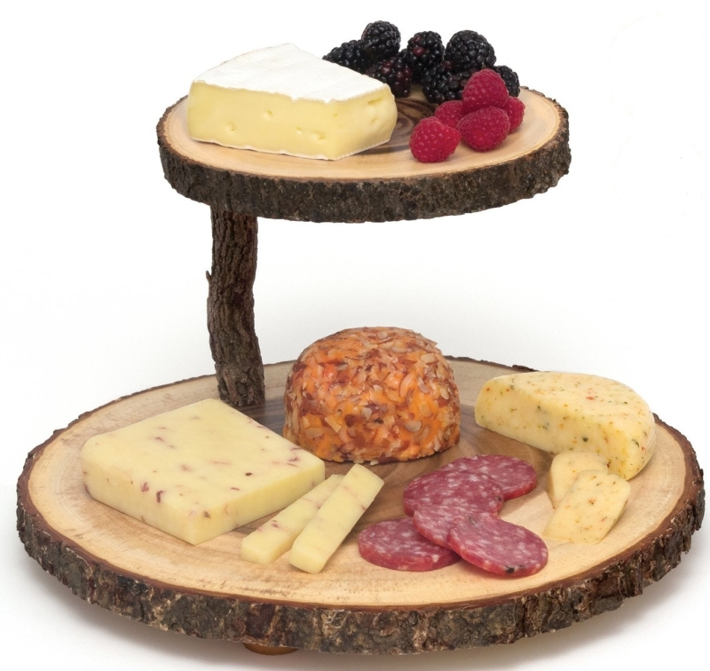 Lipper International 2 Tier Tree Bark Cheese Board Serving Tray