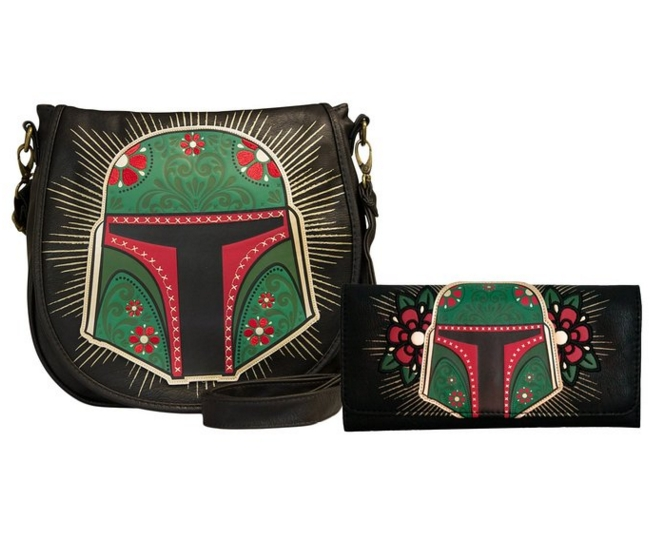 Loungefly Star Wars Boba Fett Black Green Cross Body  Matching Wallet Bundle