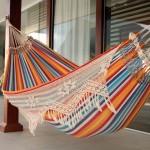 Multi-Color Striped Cotton Hammock with Fringe