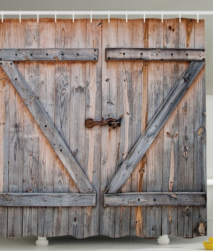 Old wooden garage door american country style decorations for Rustic wood garage doors