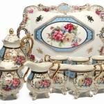 Royal Porcelain 10-Piece Vintage Floral Dining Tea Cup SET, Service for 6, Handmade & Hand-painted, 24K Gold-plated