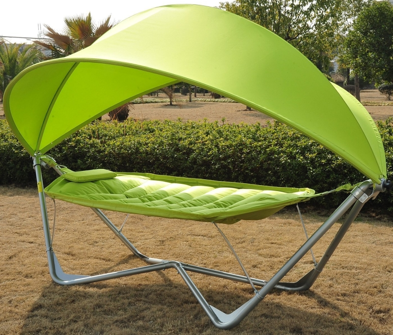 Single Seat Outdoor Patio Hammock Swing w Canopy and Stand