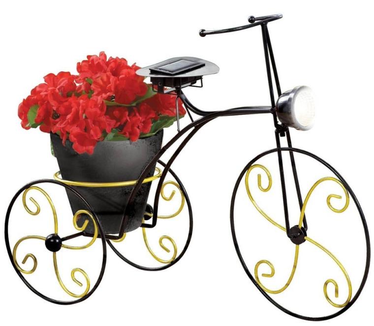 Solar-Powered Metal Bicycle Garden Planter
