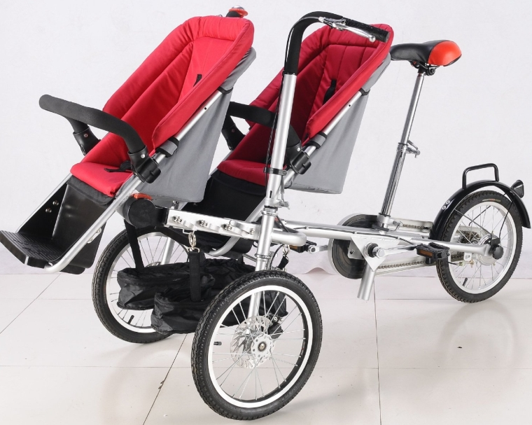3 Wheels Taga Bike Stroller 2 Seats 16inch Pushchair Mother Baby Stroller Bike Carrier Bicycle 3 in 1