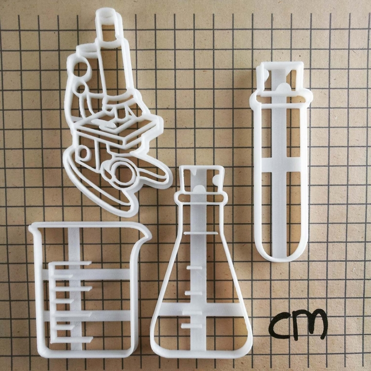 4 Laboratory Equipment Cookie Cutters