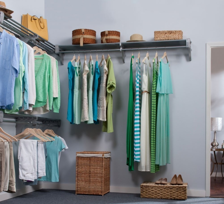 Closet Organizer Kit. Up to 18.4 ft. Hanging & Shelf Space