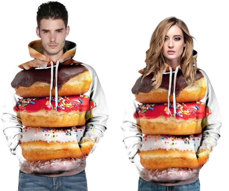 Donut Big Pockets Drawstring Hoodie Sweatshirt