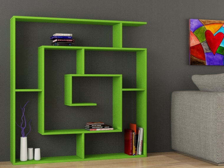 Labirent 6-Shelf Bookcase Green