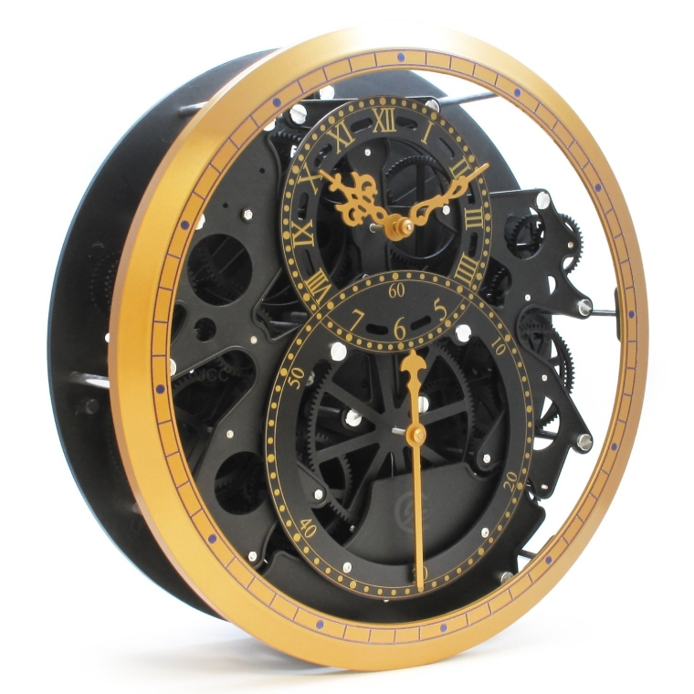 Modern wall decor Mechanical Moving Gear Revolving Motion Wheel Wall Hanging Clock