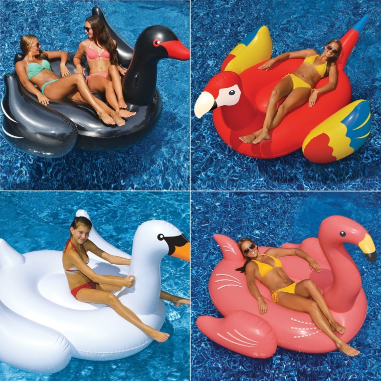 Swans Flamingo and Parrot Pool Floats