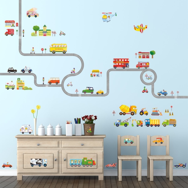The Road and Cars Large and The Transports Wall Stickers