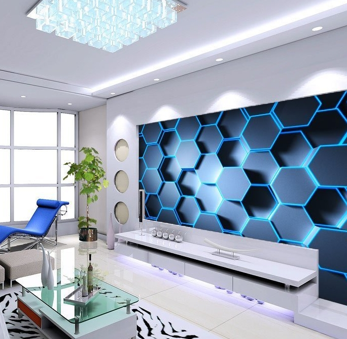 3d blue hexagon wallpaper murals for Sticker mural 3d