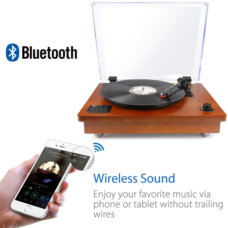 Bluetooth Turntable with Built-in Stereo Speaker