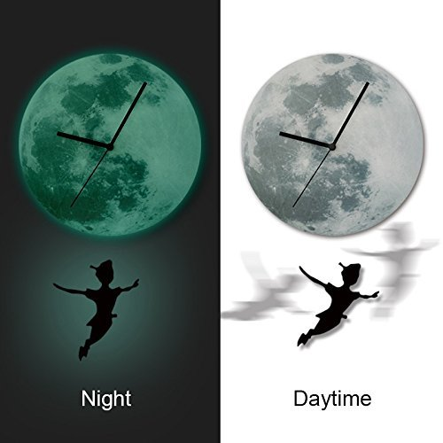 Cartoon Boy Moonlight Wall Pendulum Clock Luminous Glowing Home Decor