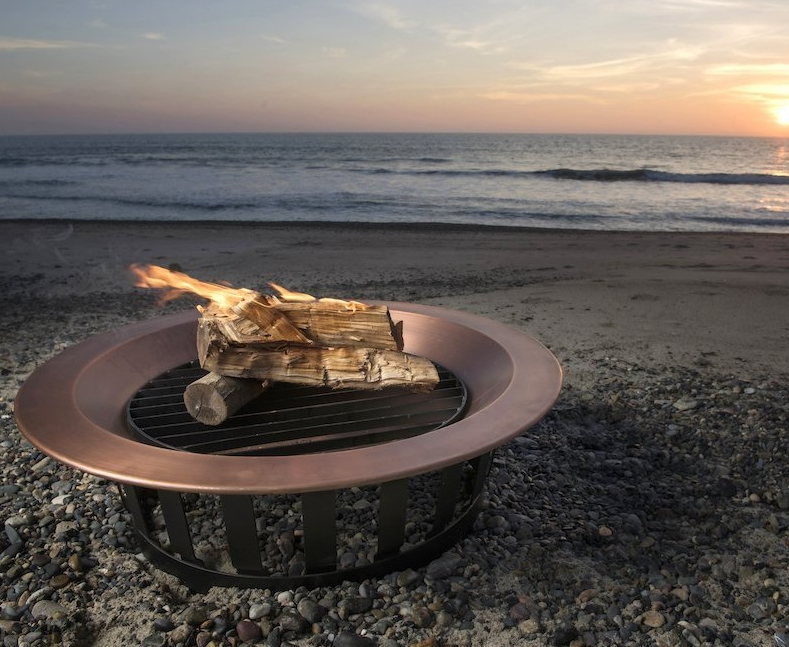 Copper Fire Pit Bowl Wood Burning Patio Frontgate Deck Grill