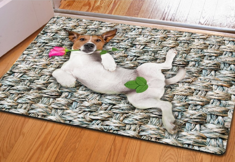 Cute Dog with Rose Funny Style Rectangular Kitchen Front Porch Door Mats
