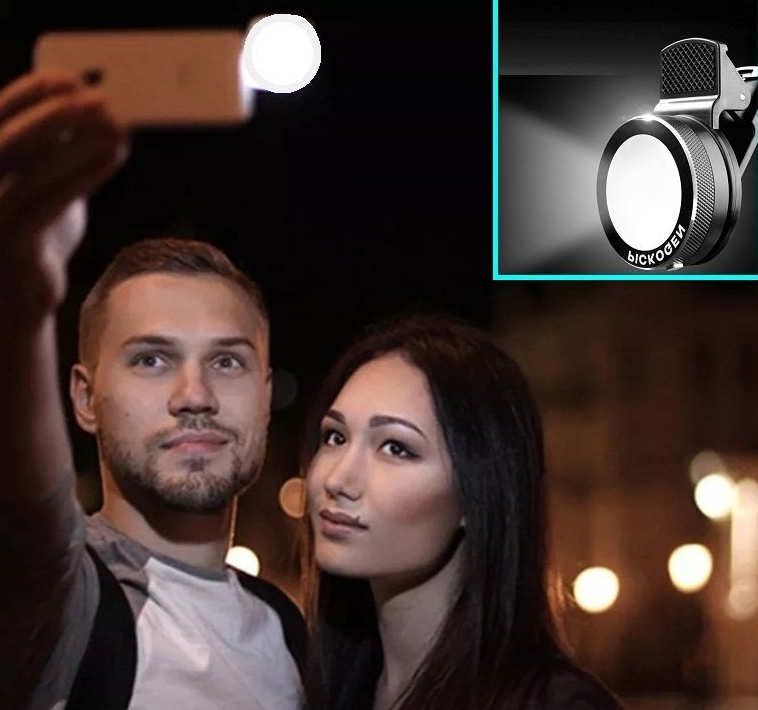 Cyxus [Adjustable 3 Stages Brightness] Round Spotlight (Clip to Phone) Portable Mini Spot Selfie Flash 9 LEDS Night Light for Any Cell Apple iPhone 6s6 Plus (Black)