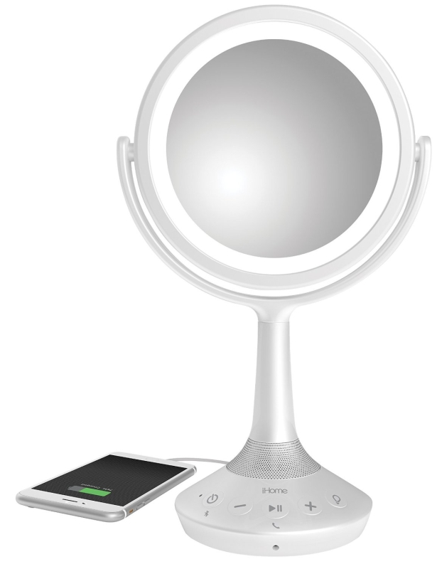 Double-sided Vanity Mirror with Bluetooth Audio  Speakerphone and USB Charging
