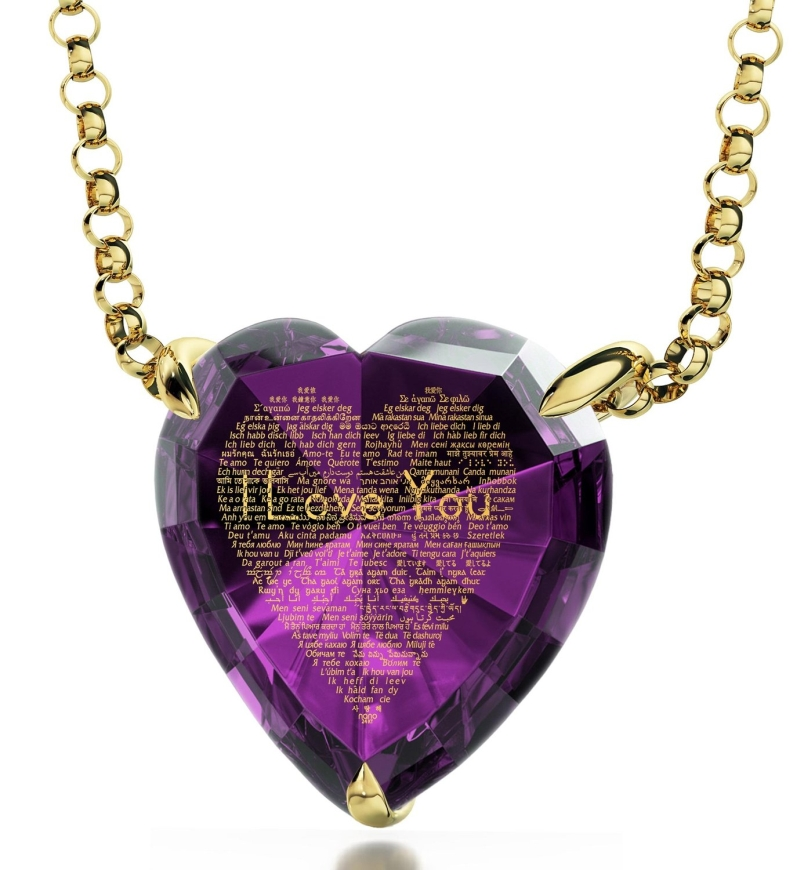 Gold Plated Heart Pendant Necklace 24k Gold
