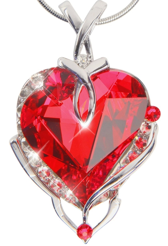 Heart Pendant Necklace with Swarovski Crystal