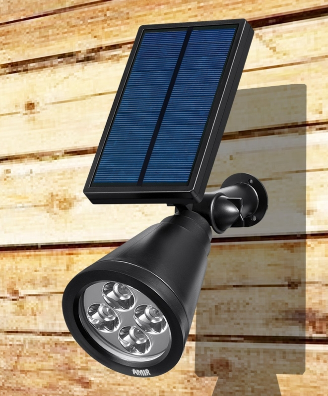 LED Solar Outdoor Spotlight Wall Light