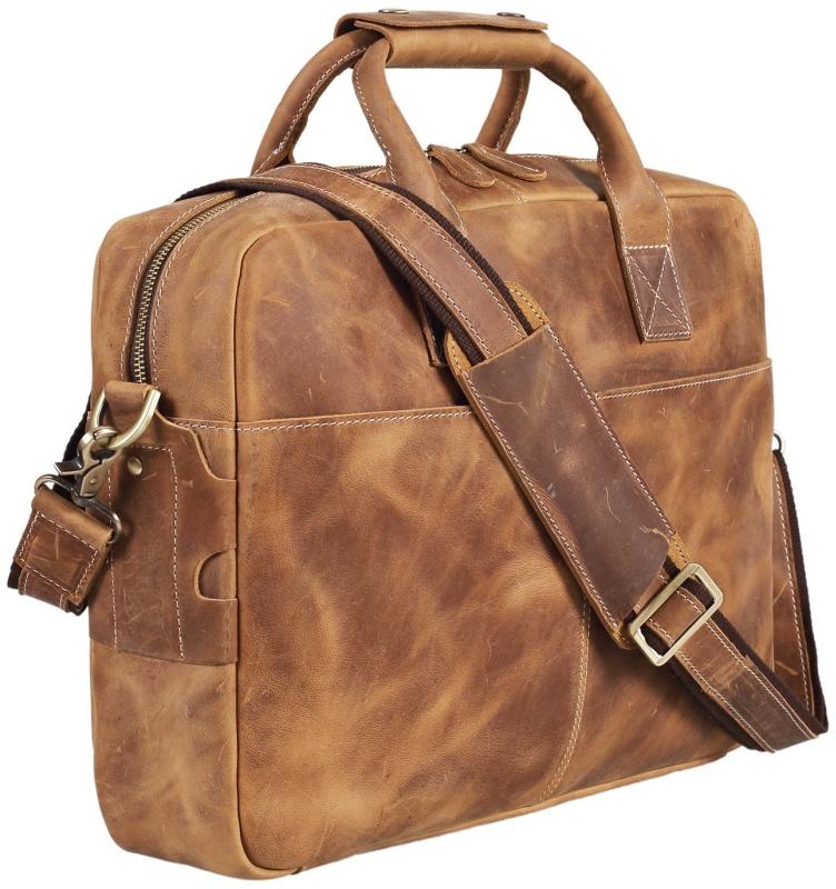 Leather Men's Briefcase Messenger Tote Bag