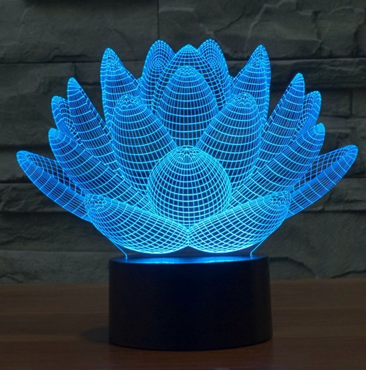 Lotus 3D Model Abstract Visual Optical Illusion 7 Color Change Touch Switch Nightlight LED Desk Lamp