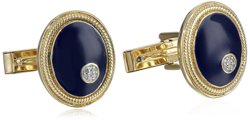 Men's 18k Gold Plated Sterling Silver Enamel Diamond Cuff Links