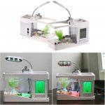 Mini USB LCD Desktop Lamp Light Aquarium Fish Tank with LED Clock